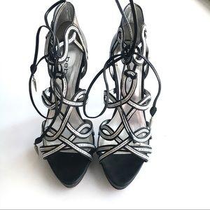 Bebe Leather Black & Silver Platform Stilettos 8M